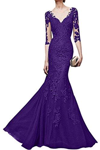 La Orange Damen V Langes Lila Etuikleider ausschnitt Festlichkleider mia Braut Spitze Abendkleider Partykleider rqSnwr4Ev