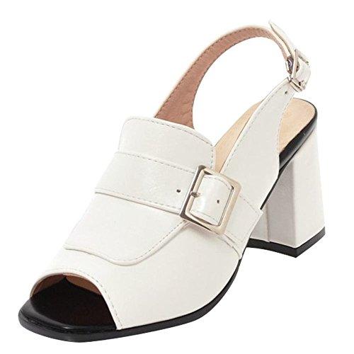 YE Womens High Block Heels Slingbacks Court Shoes Peep Toe Sandals Summer Ankle Strap Shoes White