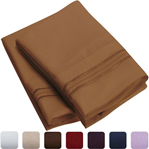 Mellanni Luxury Pillowcase Set - HIGHEST QUALITY Brushed Microfiber 1800 Bedding - Wrinkle, Fade, Stain Resistant - Hypoallergenic (Set of 2 Standard Size, Mocha)