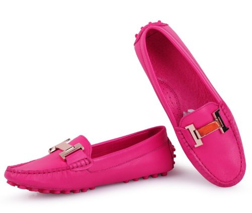 40 Rose HAPPYSHOP Buckle FREESHIPPING Womens Shoe Leather Flats Loafer Slip Casual 35 Penny TM SZ Red Genuine On qwHqna6W4