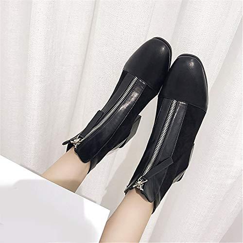 IWxez Damenmode Stiefel PU (Polyurethan) Winter Casual Stiefel Chunky Heel Heel Heel Mitte der Wade Stiefel Schwarz Farbe Block 37908b