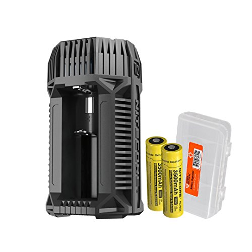 Price comparison product image NITECORE V2 6A 2-Channel In-Car Speedy Battery Charger with 12V Lighter Adapter and USB Ports with 2x 3500mAh 18650 Rechargeable Batteries and Lumen Tactical Battery Organizer