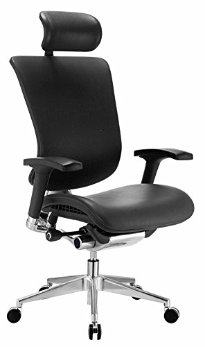 GM Seating Dreem III Leather Series Executive Hi Swivel Chair Chrome Base with Headrest, Genuine Black Leather