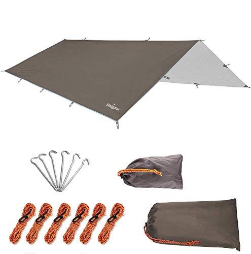 Unigear Zeltplane, Tarp für Hängematte, wasserdicht mit Ösen + 6 Erdnägel+ 6 Seilen, Regenschutz Sonnenschutz für…