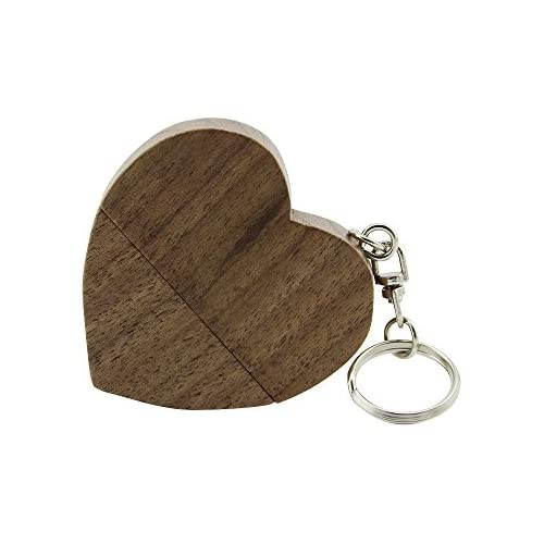 CHUYI Novelty Wooden Heart Shape 32GB USB 2.0 Flash Drive with Magnet Design Memory Stick Data Storage Heart Pen Drive Cool Jump Drive Cute Thumb Drive Gift (Brown)
