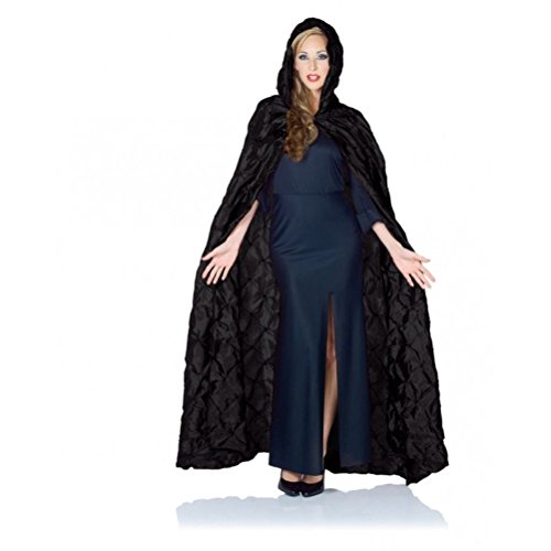 Costumes Coffin Gothic (Pintuck Hooded Costume Cape Adult Halloween Medieval Gothic Vampire)
