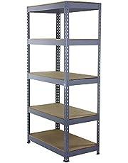 Q-Rax Stellingkast - 90cmx50cmx182cm - 100% boutloos - Draagkracht: 200 kg per plank - opbergrek metaal