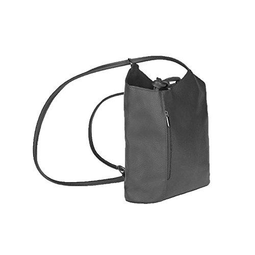 OBC MADE IN ITALY ledertasche-rucksack AVESTRUZ Repujado Bolso Mujer 2 en 1 BOLSA BOLSO de Hombro Bolso de hombro con asas Tableta/iPad aprox. 10-12 pulgadas 27x29x8 cm (BxHxT ) gris