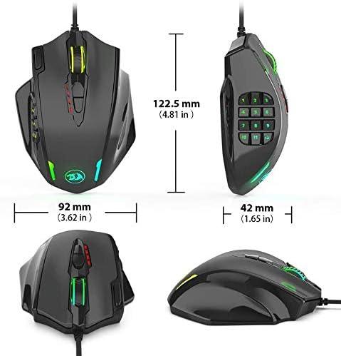 12400 Dpi Gaming Mouse Mécanique, Gaming Mouse, 19 Boutons Programmables RGB LED Filaire Haute Précision Souris PC Console De Jeux