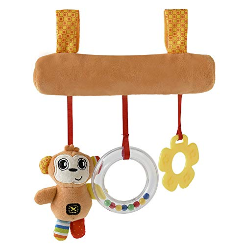 Wenasi Baby Lathe Hanging Ring Animal Print Rattle Crib Hanging Infant Stroller Hanging Toys Teether Stuffed Doll
