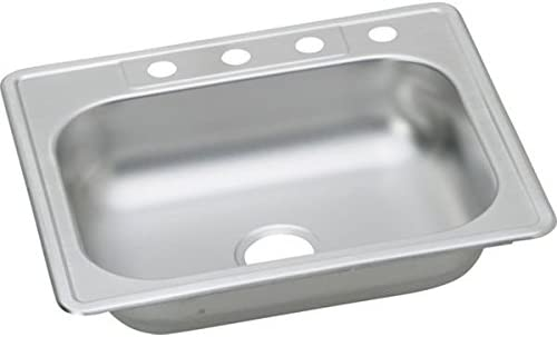 Elkay K125224 Dayton Kingsford 25-Inch by 22-Inch Stainless Steel Single Bowl Four-Hole Kitchen Sink, Polished Finish