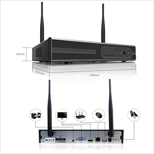 Anni 4CH 720P HD Surveillance System, Wireless NVR Kit with 4 x 1.0MP Wireless Indoor Outdoor Security Cameras, P2P, 65ft Night Vision, NO HDD