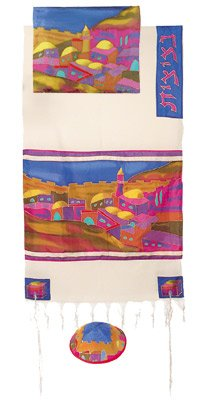 Jerusalem Vista in Color Woven Cotton and Silk Tallit Set By Yair Emanuel From Menorah.com Vttws1