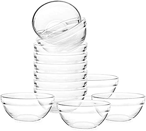 3 5 Inch Glass Ramekins Bowls Mini Glass Bowls For Kitchen Prep Dessert Dips And Candy Dishes Or Nut Bow 12pcs Amazon Ca Home Kitchen