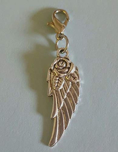 (A Lovely Angel Wing with Rose Dangle Charm or Zipper Pull)
