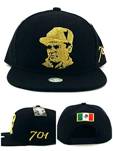 3cd4f3252a31ca Headlines New El Chapo Guzman Mexico 701 Mexican Drug Lord Black Gold Era Snapback  Hat Cap