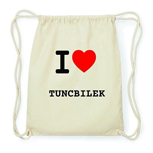 JOllify TUNCBILEK Hipster Turnbeutel Tasche Rucksack aus Baumwolle - Farbe: natur Design: I love- Ich liebe EMbyeZ