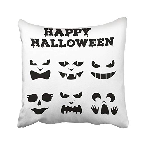 Emvency Collection of Halloween Pumpkins Carved Faces Silhouettes Black and White Images with Variety Eyes Mouths Throw Pillow Covers 20x20 Inch Decorative Cover Pillowcase Cases Case Two Side]()