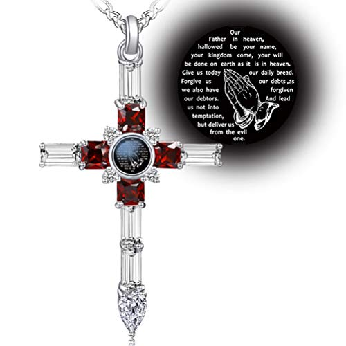 VISILOVE Cross Necklace with Lord' s Prayer and Praying Hands Pendant (Garnet Red Baguette)