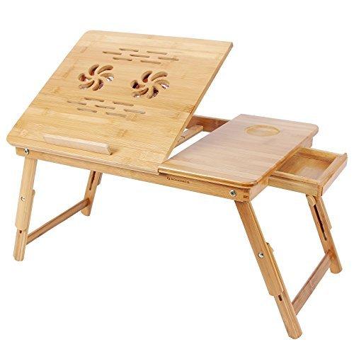 Songmics Laptoptisch Notebooktisch Betttisch PC Notebook Tisch Schreibtisch Bambus mit Kühler LLD01F