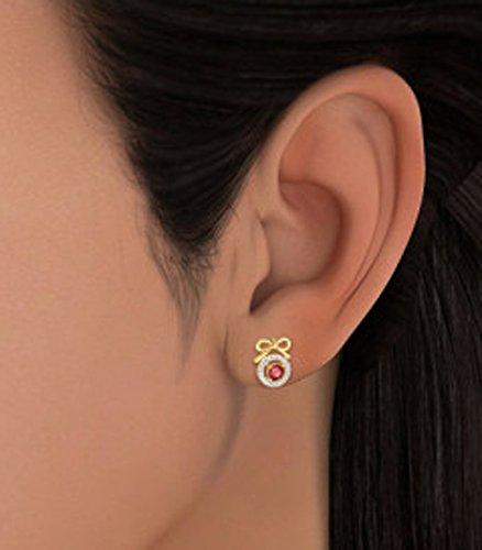 14K Or jaune 0.11CT TW White-diamond (IJ | SI) et rubis Boucles d'oreille à tige