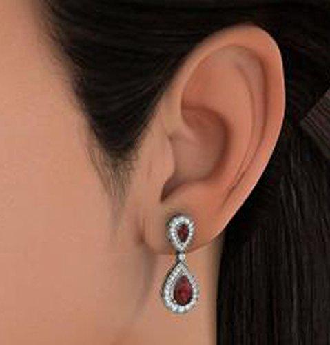Or blanc 18K 0,91carat au total Round-cut-diamond (IJ | SI) et grenat Pendants d'oreilles