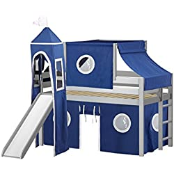 JACKPOT!! Castle Low Loft Bed with Slide Blue & White Tent and Tower, Loft Bed, Twin, Gray