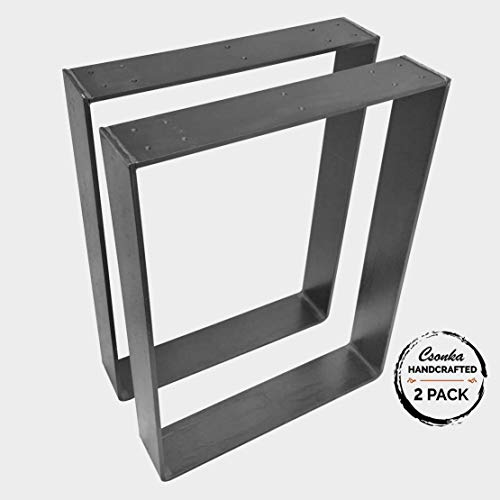 "2 Pack - (3"" Wide - 1/4"" Thick Metal) (Size Range: 16-35""L x 21-40""H) Square Metal Legs, Table Legs, Bench Legs, Legs, Industrial Modern, DIY"