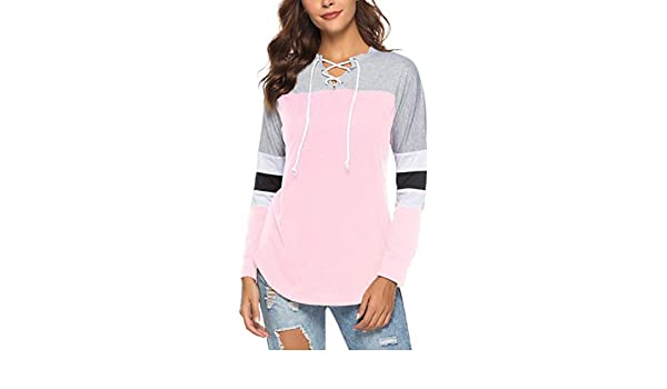 c0e6b84ac61 Amazon.com: V Neck T-Shirt Lace-up Shirt Hollow Out Tie Front Long ...