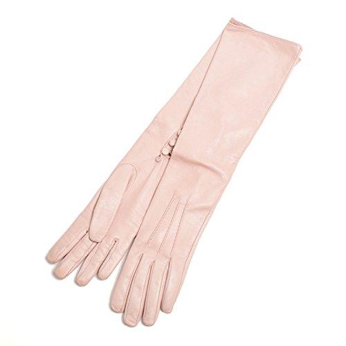 死傷者クリエイティブ実現可能(ヴァレンティノ) VALENTINO レザー ロンググローブ 手袋 NW1G0A01NAP ピンク [中古]