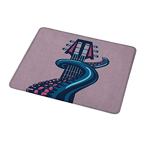 Gaming Mouse Pad Customized Octopus,Sea Animal with Guitar Riff Musical Instrument Rock and Roll Modern Artwork Print,Lilac Blue,Custom Design Gaming Mouse Pad 9.8
