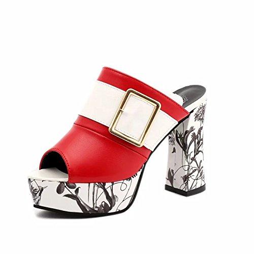 De Femeninas De El Taiwán Ultra De 8Cm Zapatos Mujeres De Tacón Mujer Sandalias De Tacón De O Like Alto GAOLIM Grandes Sandalias Mujer Verano Grueso Zapatos Astilleros Alto Grueso rojo Sandalias Impermeable Rtw4R