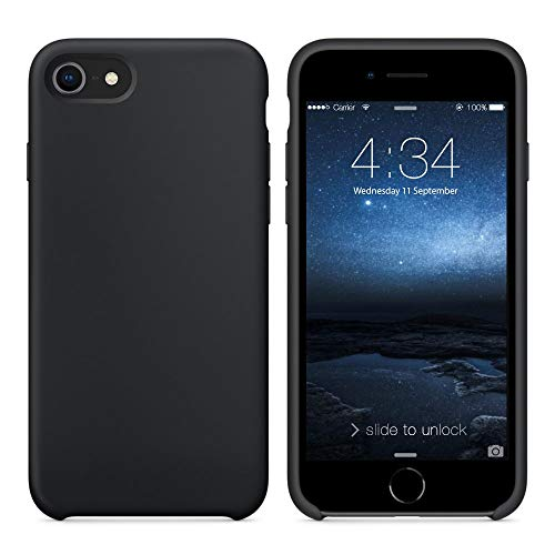 """SURPHY Silicone Case Compatible for iPhone 8 iPhone 7 Case, Soft Liquid Silicone Slim Rubber Protective Phone Case Cover (with Microfiber Lining) for iPhone 7 iPhone 8 4.7"""", Black"""