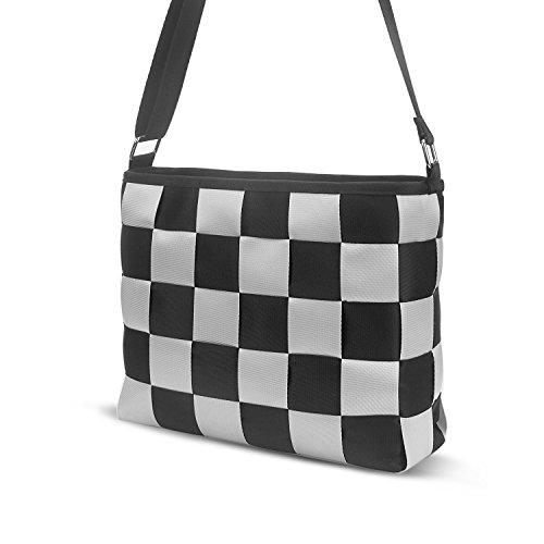 JFT Black & Gray Checkered Purse Tote bag – Seatbelt Bag with shoulder strap bag
