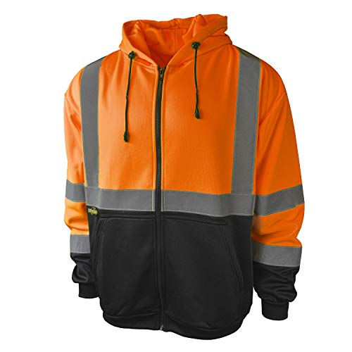 Radians SJ01B-3ZOS Class 3 Color Blocked Hooded Sweatshirt, X-Large, Orange ()