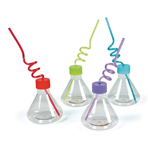 8 science party Cups with silly loop straws - Plastic -