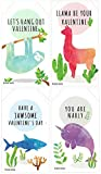 "Mini Llama Sloth Narwhal Shark Valentines (Set of 24, Size 2"" X 3.5"") for Valentine's Day by Nerdy Words"