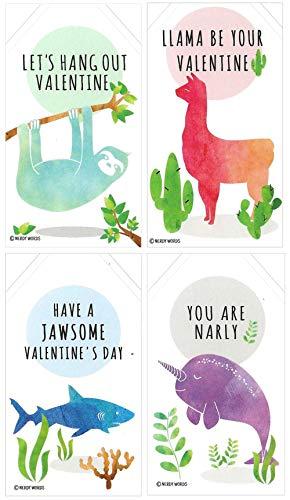 Mini Llama Sloth Narwhal Shark Valentines (Set of 24, Size 2