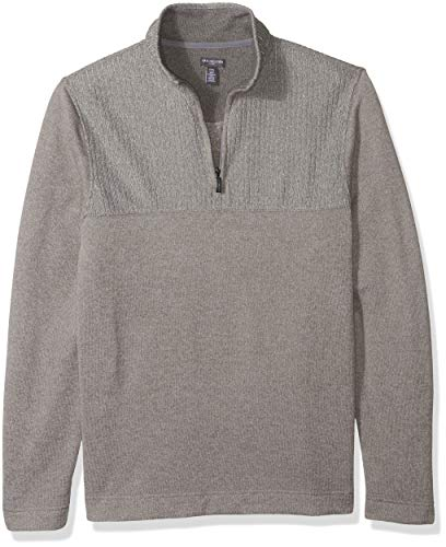 (Van Heusen Men's Size Big and Tall Flex 1/4-zip Solid Sweater, grey Cumulus, 2X-Large Tall)