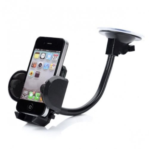 Universal Rotating Car Mount Windshield Window Phone Holder Cradle for Verizon Casio G-zOne Boulder, Casio G-zOne Brigade C741, Casio G-zone Ravine 2, HTC Thunderbolt 4G, HTC 7 Trophy, HTC Droid - Trophy Silicone Case Htc