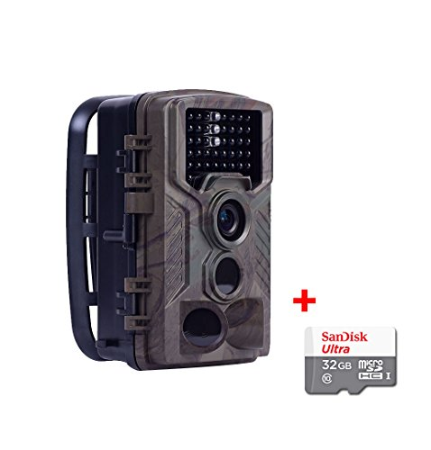 2017 upgraded HD Wildlife camera 16 MP1080P with 46pcs IR LEDs and IP56 Waterproof  Sandisk 32GB Micro SD Class 10