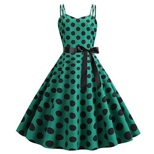Eyelet Ribbon Empire Dress - Sunhusing Womens Vintage Sleeveless Strapless Sling Polka Dot Print Ribbon Lace-Up Waist Mini Pleated Dress Green