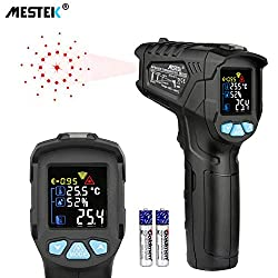 Infrared Thermometer Temperature Gun Mestek Non Contact Laser Digital Thermometer With Color Lcd Screen 58℉ 1472℉ 50℃ 800℃ Adjustable Emissivity Humidity Alarm Setting Max Hold Indoor Outdoor Home