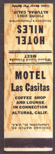 Motel Las Casitas Hotel Niles Alturas CA matchcover from The Jumping Frog