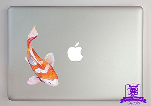 Overly Attached Decals Orange and White Watercolor Koi Fish Vinyl Decal Sized To Fit A 11