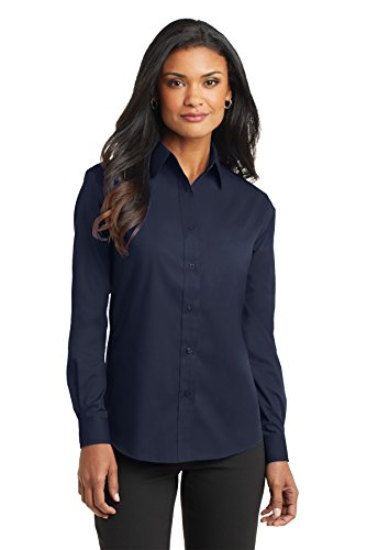 Maternity Poplin Blouse (Port Authority Women's Long Sleeve Value Poplin Shirt 4XL Navy)
