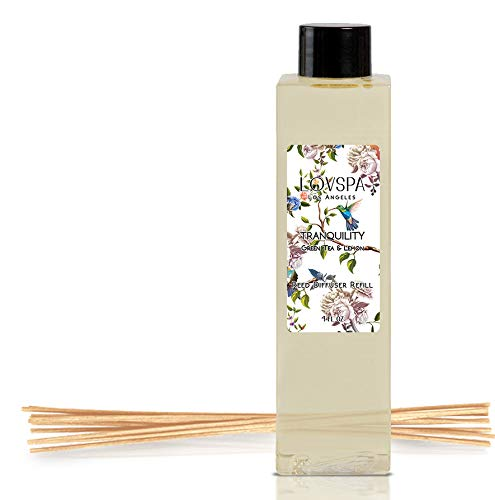 LOVSPA Tranquility Green Tea & Lemongrass Reed Diffuser Oil Refill with Replacement Reed Sticks | Clear, Crisp, Lively Green Tea and Lemon | 4 oz| Made in The USA (Refill Diffuser Lemongrass)