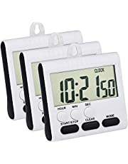 3 Pack 24 Hours Magnetic Kitchen Timers with Digital Alarm Clock Timer, Loud Alarm and Big Screen (Black)