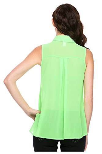 G2 Chic Women's Contrast Button-Up Lace Yoke Chiffon Shirt Blouse(TOP-DSY,GRNA2-M)