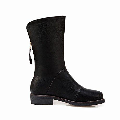 Heel Black Motorbike Western Women's Concise Carolbar Mid Boots Zip Short ZTIqwBBn